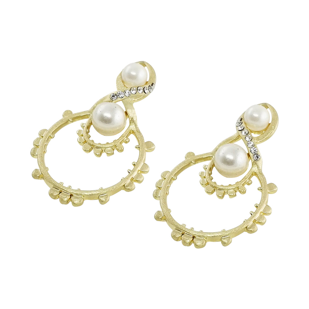 Golden Earrings w/ Cultured Pearls & Crystals