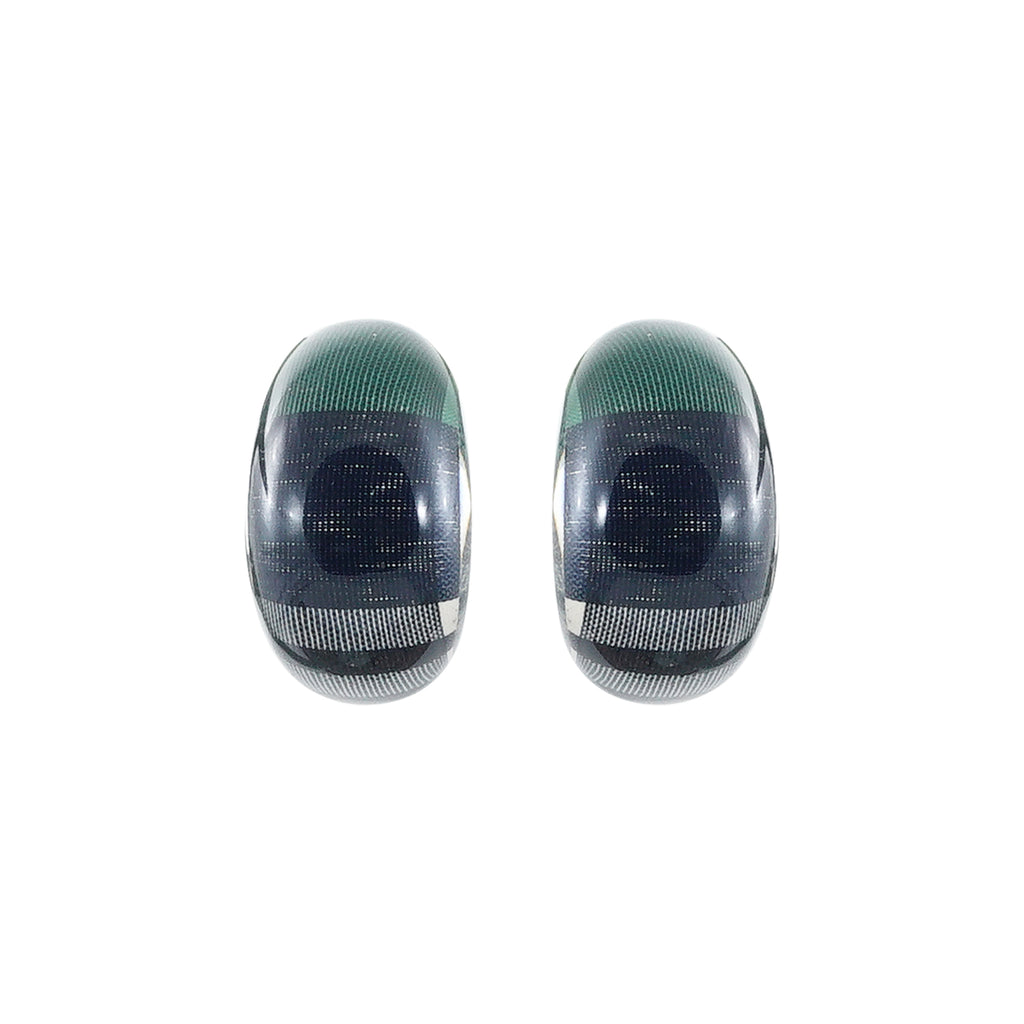 Resin Earrings w/ Green Pattern