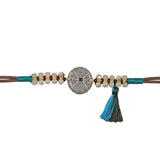 Brown Bracelet with Black & Blue Tassel