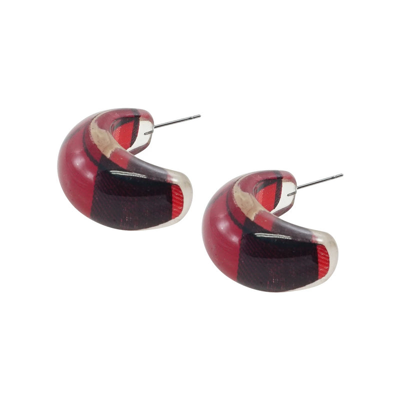 Resin Earrings w/ Red Pattern