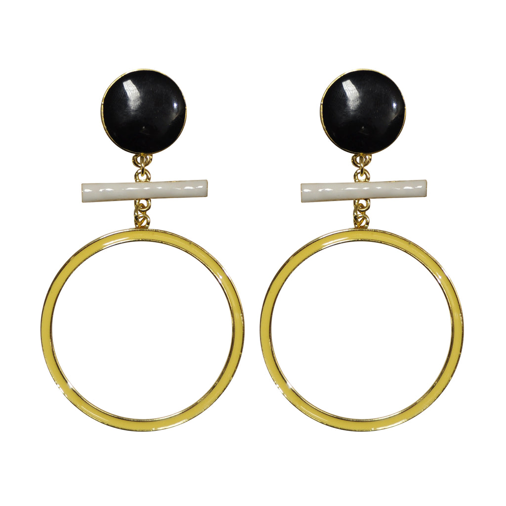 Black, White & Yellow Earrings