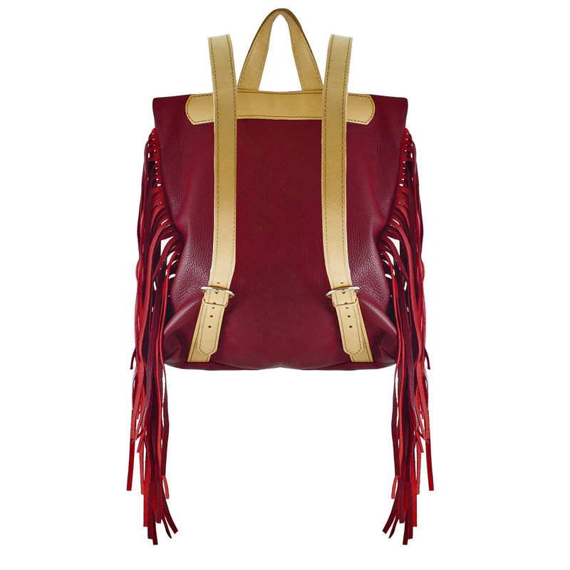 Red Leather Backpack w/ Tassels