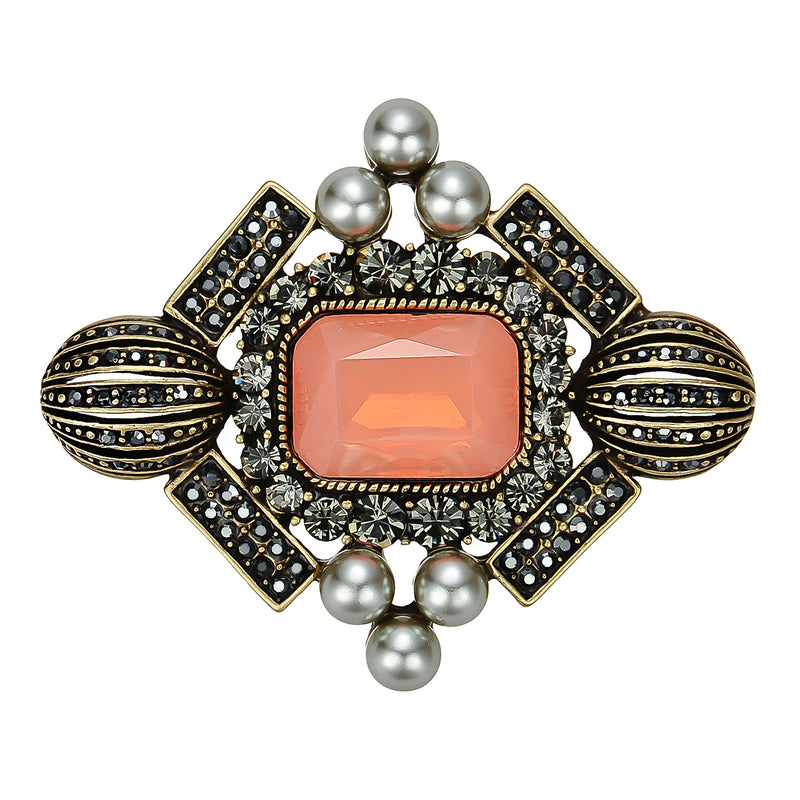 Orange Crystal Brooch
