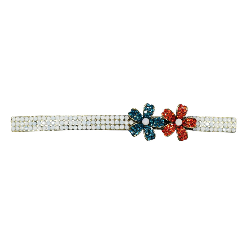 White Crystal Hairclip w/ Crystal Flowers