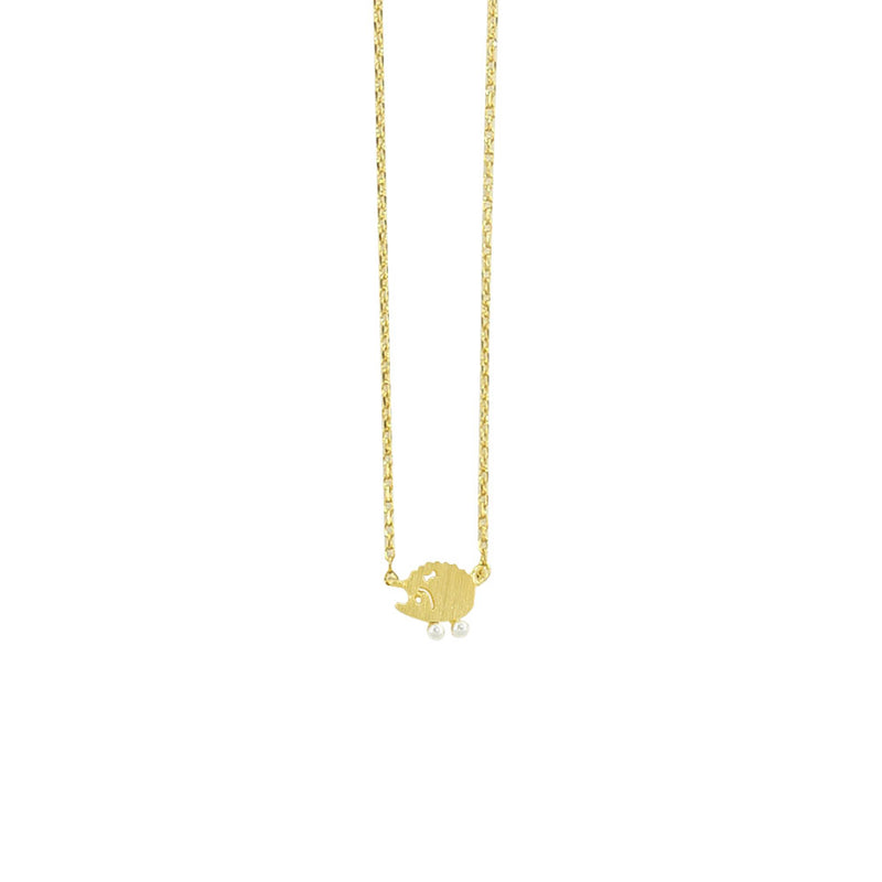Golden Necklace w/ Hedgehog Pendant