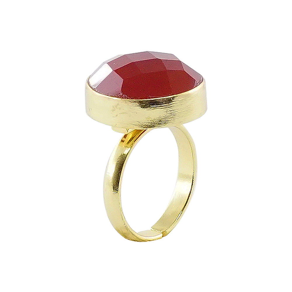 Golden Ring w/ Red Chiseled Stone