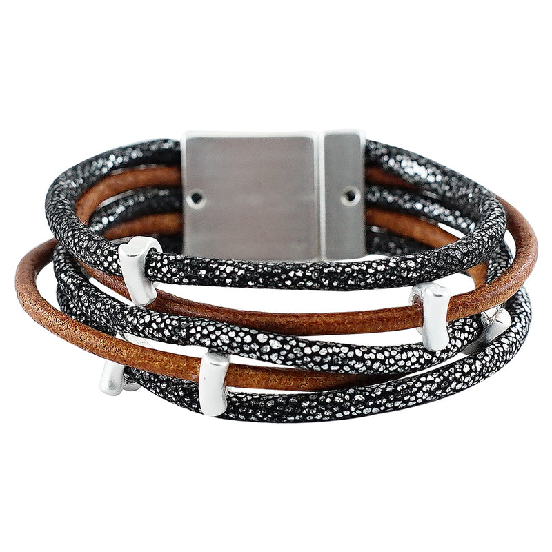 Leather Bracelet w/ Patterns & Silver Pieces
