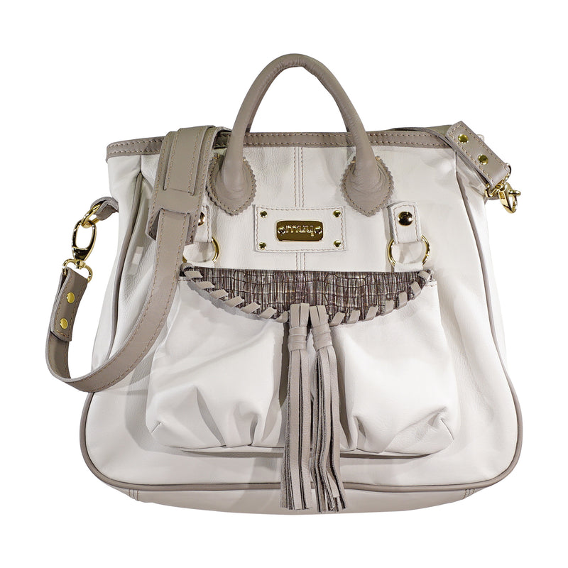 White & Grey Leather Bag