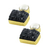 Golden Earrings w/ Cultured Pearl & Black Stone