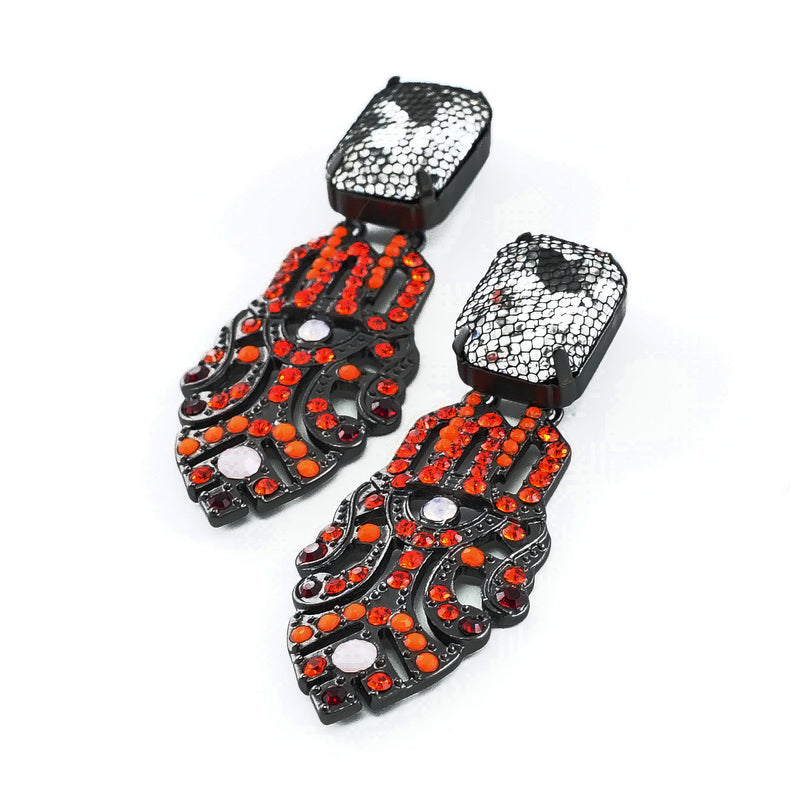 Gunmetal Earrings w/ Red & Orange Crystals