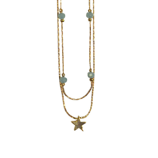 Star Necklace with Crystals