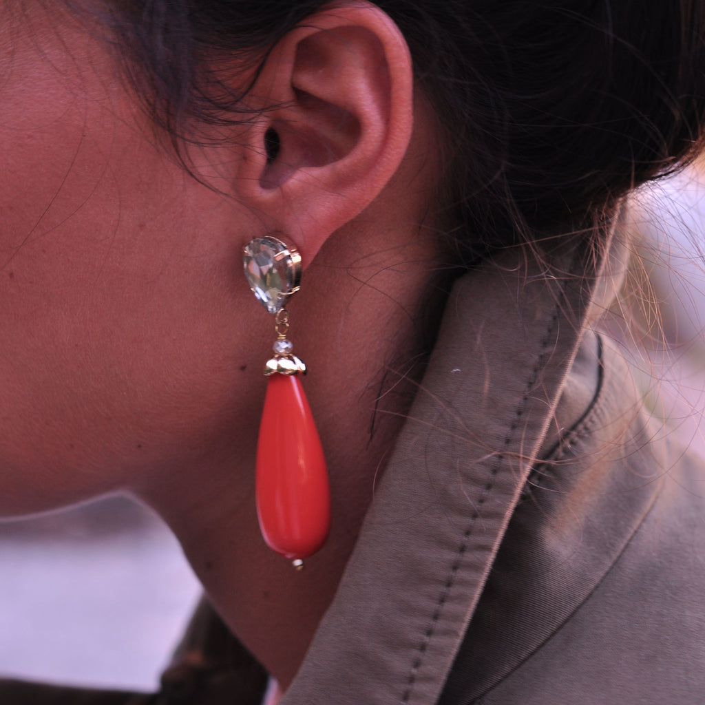 Coral Earrings with Crystal