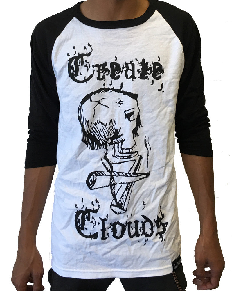 Create Clouds Baseball T - Mens White with Black Sleeves