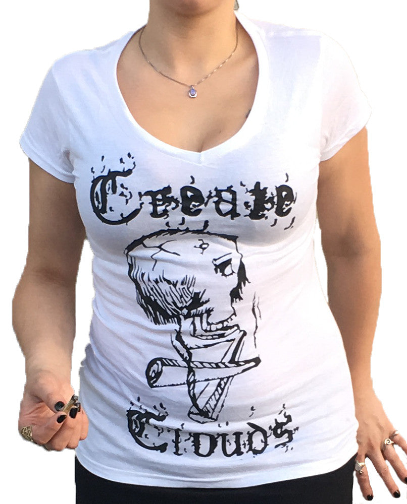 Womens Create Clouds V-Neck - White
