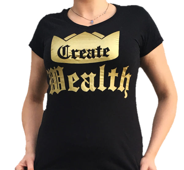 Womens Create Wealth V-Neck - Black