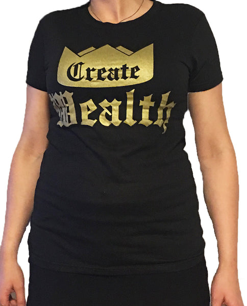 Womens Create Wealth T - Super Soft Black