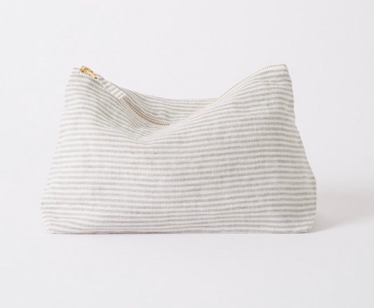Linen Stripe Wash Bag