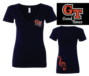 Good Times Glitter Ladies Fitted 'V' Neck T-Shirt