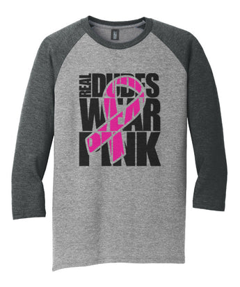 Real Dudes Wear Pink 3/4 sleeve shirt