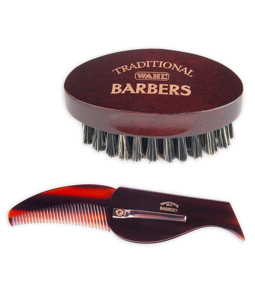 WAHL Traditional Barbers Beard Brush & Comb Set