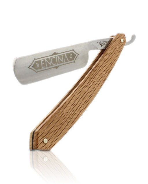 "DOVO Straight Razor 6/8"" Full Hollow Ground Carbon Steel Blade, Spanish Oak Wood Handle,"