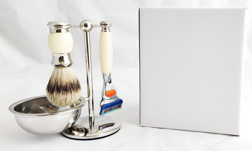PureBadger Collection Cream 4pc Set, Faux Ivory Silvertip Shaving Brush, Fusion Razor, Stand & Bowl