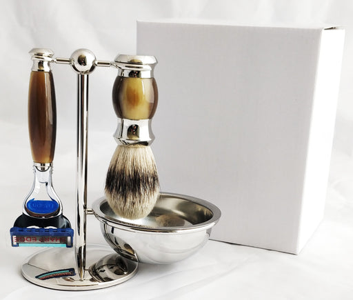 PureBadger Collection Brown 4 pc Set, Faux Horn Silver Tip Shaving Brush, Fusion Razor, Stand & Bowl