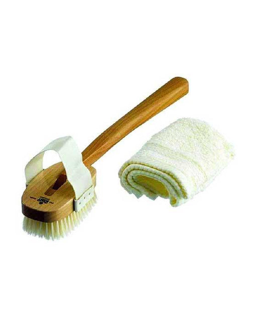 Kent K-FD3 Aqua Bath Brush, Detachable Head With Strap, White Bristle, Beechwood, Men's Bodycare