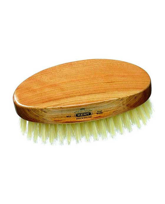 Kent Military Brush, Oval, Cherrywood, Travel Size, Pure White Bristle Hairbrush, Hair Brushes