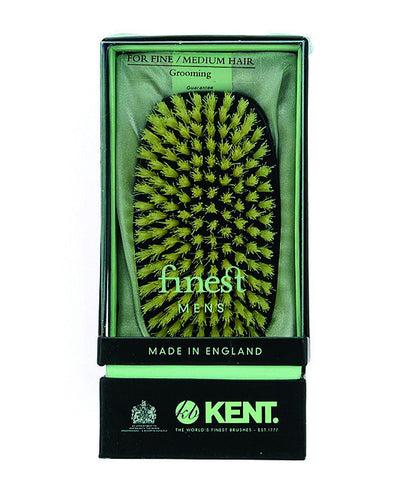 Kent Military Brush, Rectangular, White Bristles, Ebonywood, Hair Brushes