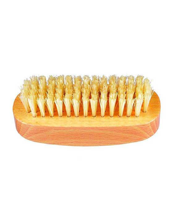Kent K-NB3 Aqua Nail Brush, White Bristles With Row Of Bristle On Back, Beechwood, Tweezers & Implements