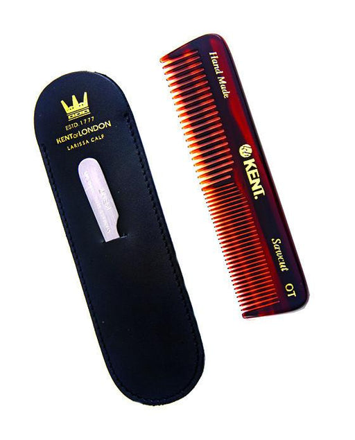 Kent K-NU19 Comb, Coarse/Fine Tooth With Leather Case & Metal File (110mm/4.3in), Hair Combs