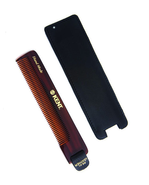 Kent K-NU22 Comb, Fine Tooth With Leather Tab & Case (120mm/4.7in), Hair Combs