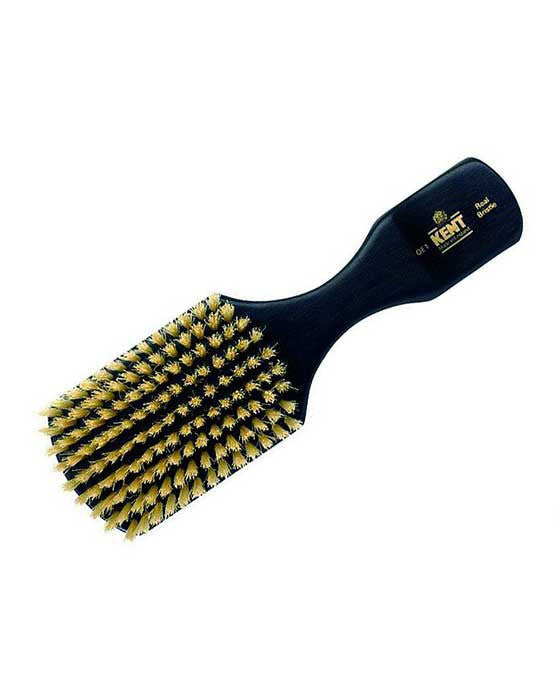 Kent Men's Brush, Rectangular Head, White Bristles, Ebonywood, Hair Brushes