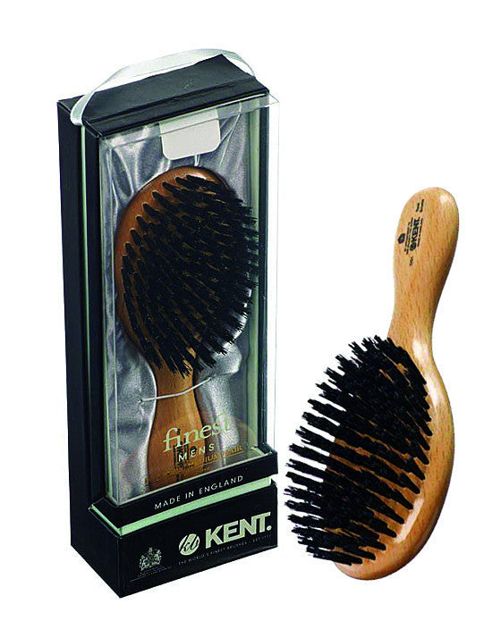 Kent Men's Brush, Oval Head, Black Bristles, Satinwood, Hair Brushes