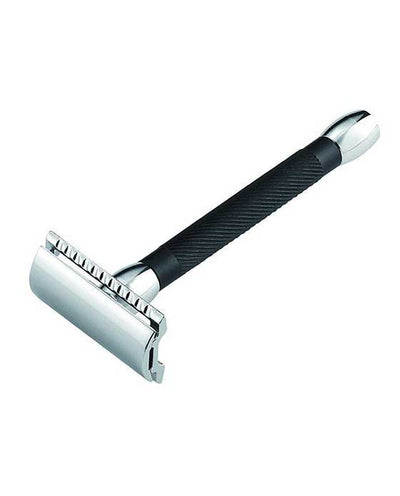 Merkur 20B Double Edge Safety Razor, Straight Cut, Chrome, Extra Long Black Handle, Double Edge Safety Razors