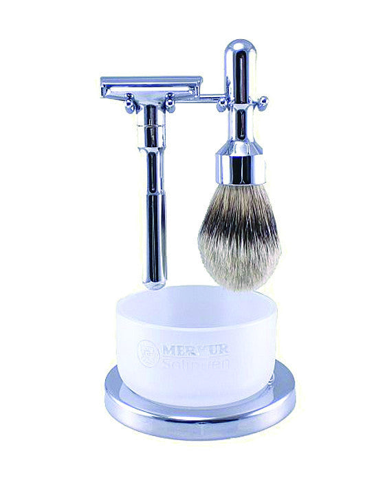 Merkur Futur 4pc Double Edge Safety Razor Shaving Set, Polished, Gift Sets & Kits