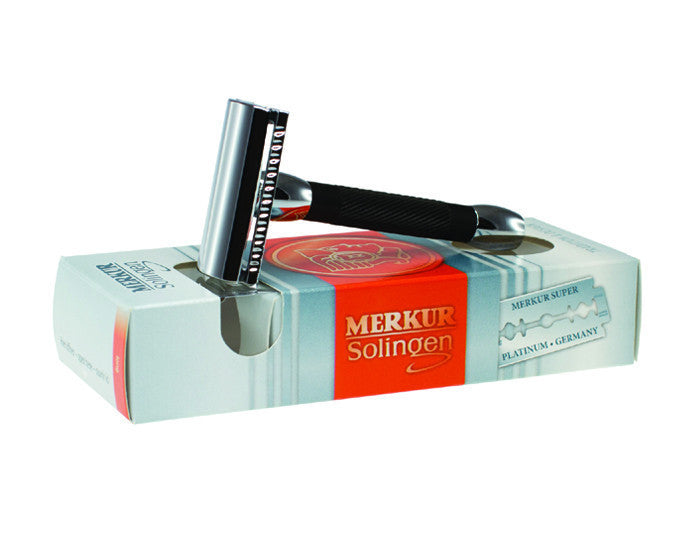 Merkur 30B Double Edge Safety Razor, Straight Cut, Chrome, Black Handle, Double Edge Safety Razors