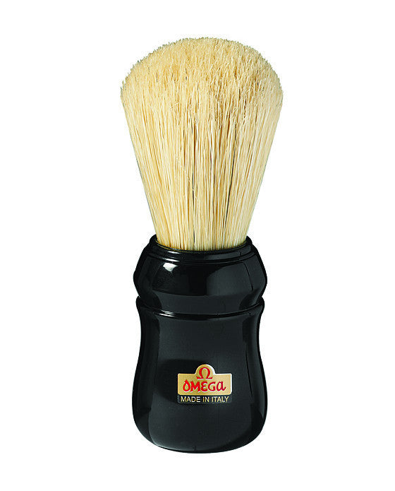 Omega Boar Bristle Shaving Brush, ABS Handle, Black, Shaving Brushes
