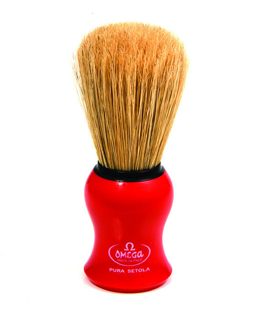 Omega Boar Bristle Shaving Brush, Red, Shaving Brushes