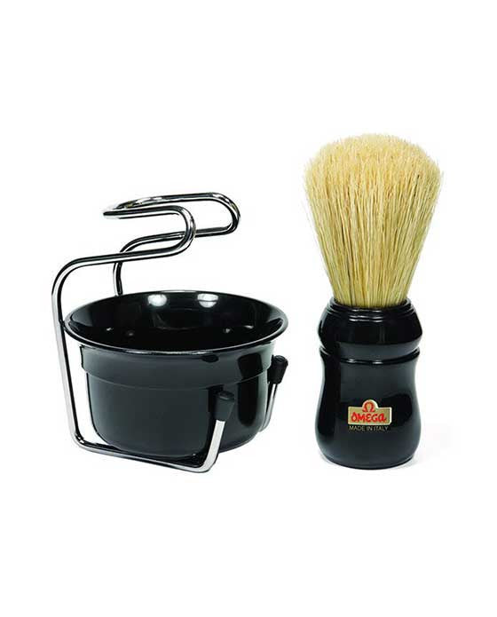 Omega Professional Brush Set includes Stand and Bowl- BLACK, Shaving Brushes