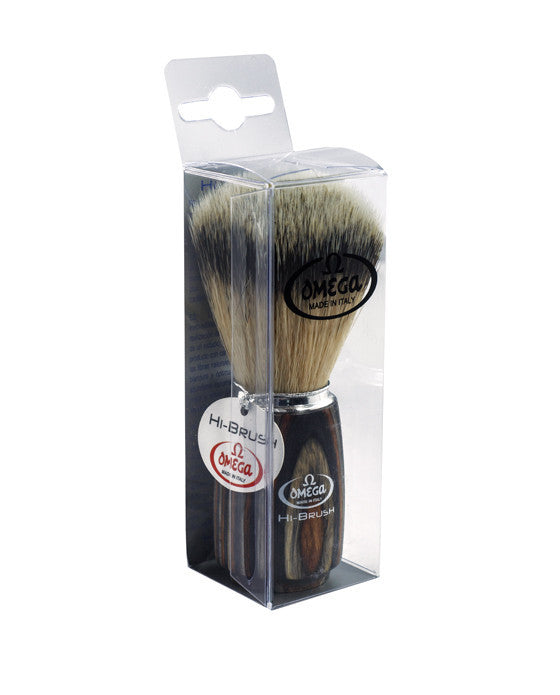 Omega Premium Synthetic Fiber Hair Multilayer Wooden Handle, Shaving Brushes