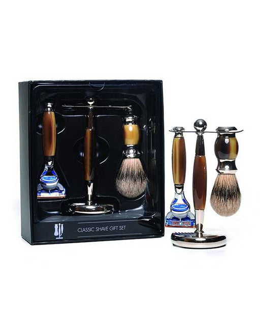 PureBadger Collection Brown 3pc Shaving Set, Faux Horn Silvertip Shaving Brush, Fusion Razor & Stand,