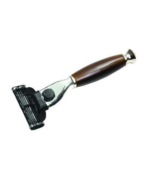 PureBadger Collection Shaving Razor Brown Handle - Mach3 Head,