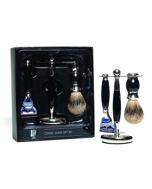 PureBadger Collection Black 3pc Shaving Set, Faux Ebony Silvertip Shaving Brush, Fusion Razor & Stand,