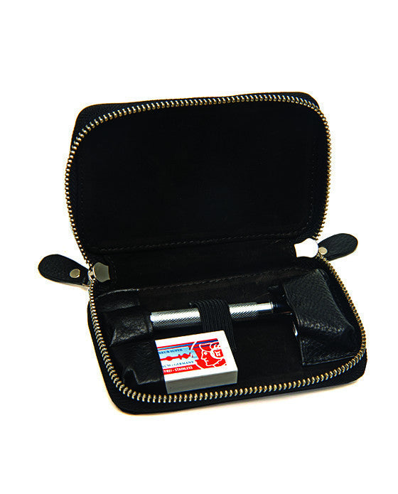 PB Black Pebble Leather DE Safety Razor Case, With Nubuck Lining,