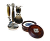 Brown 3pc Shaving Set with a Faux Horn Pure Badger Shaving Brush and a LEA Classic Shaving Soap in Wooden Bowl,