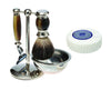 Brown 4pc Set with a Faux Horn Pure Badger Shaving Brush and a LEA Classic Shaving Soap Puck,