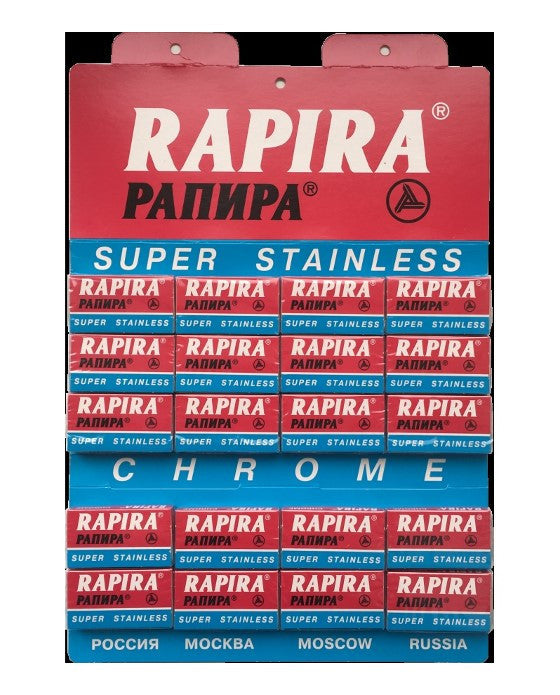 Rapira 100 Double Edge Safety Razor Blades Chrome (20 pack, 5 Blades/pack),