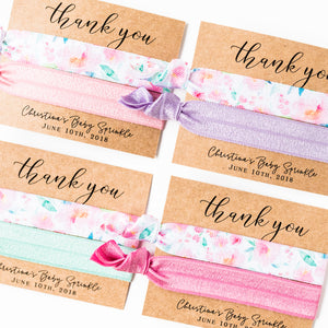 THANK YOU | Pastel Floral Baby Shower Hair Tie Favors